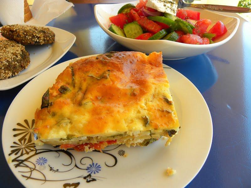 Chaniotiko Boureki with Greek Yoghurt  (Savoury Zucchini, Potato Casserole)