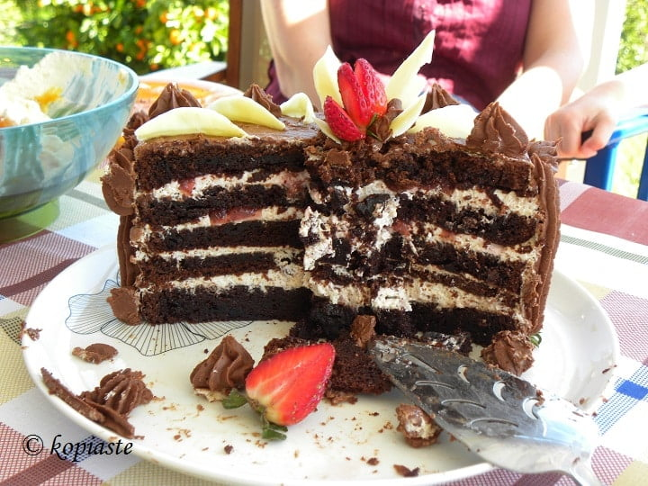 Strawberry chocolate cake cut