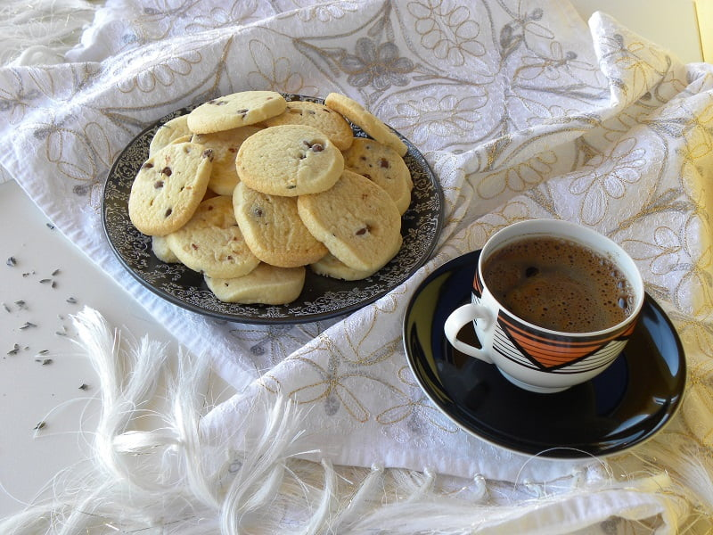 Lavender cookies with Greek coffee image