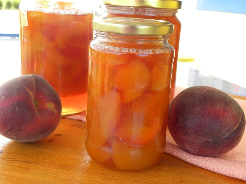 peach compote in jars image