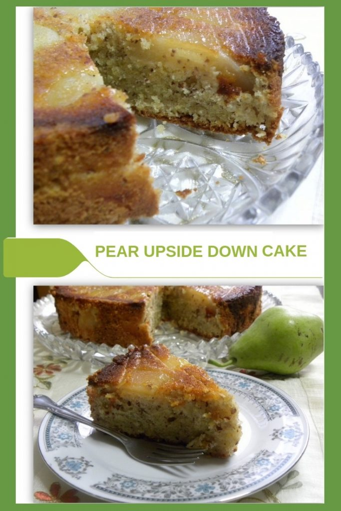 collage Pear upside down almond pound cake image