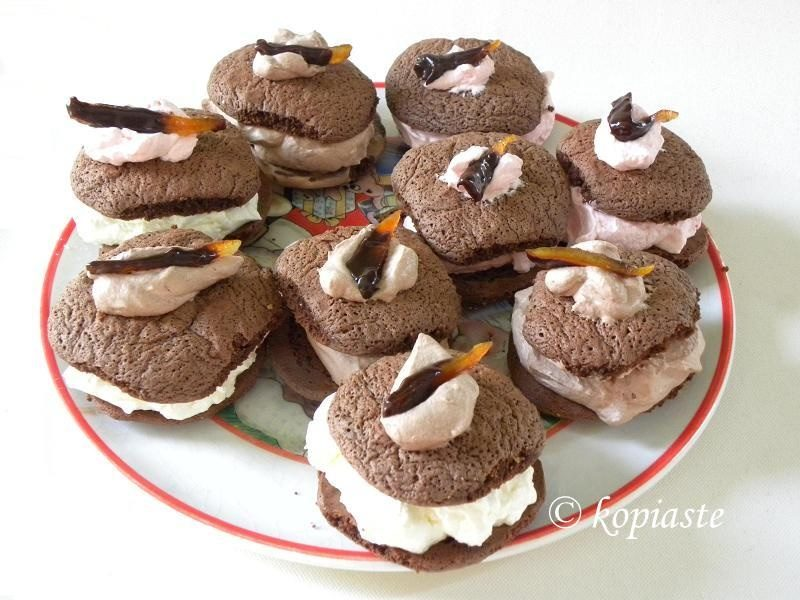 Whoopie Pies with candied chocolate peels