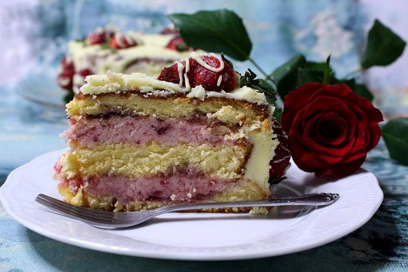 Elia's white chocolate buttercream cake with strawberries