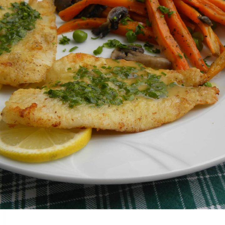 Sauteed sole fish with meuniere sauce