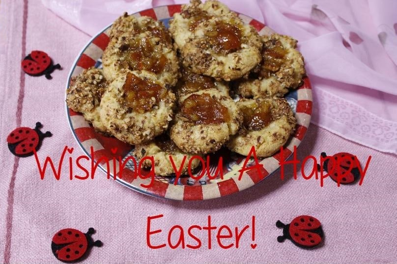 Easter Wishes on Thumbprint Cookies image