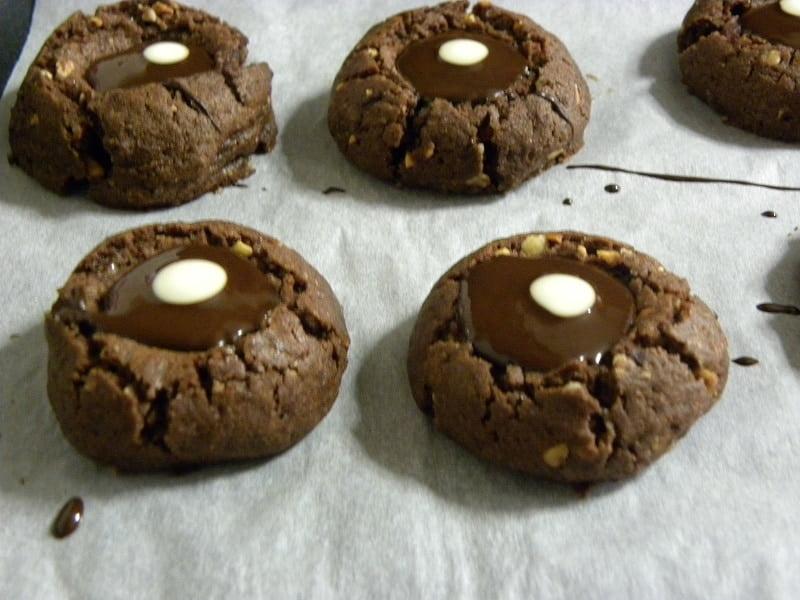 chocolate thumbprint cookies with dot image