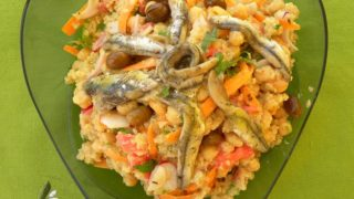 Chickpea, Quinoa Salad with Marinated Anchovies