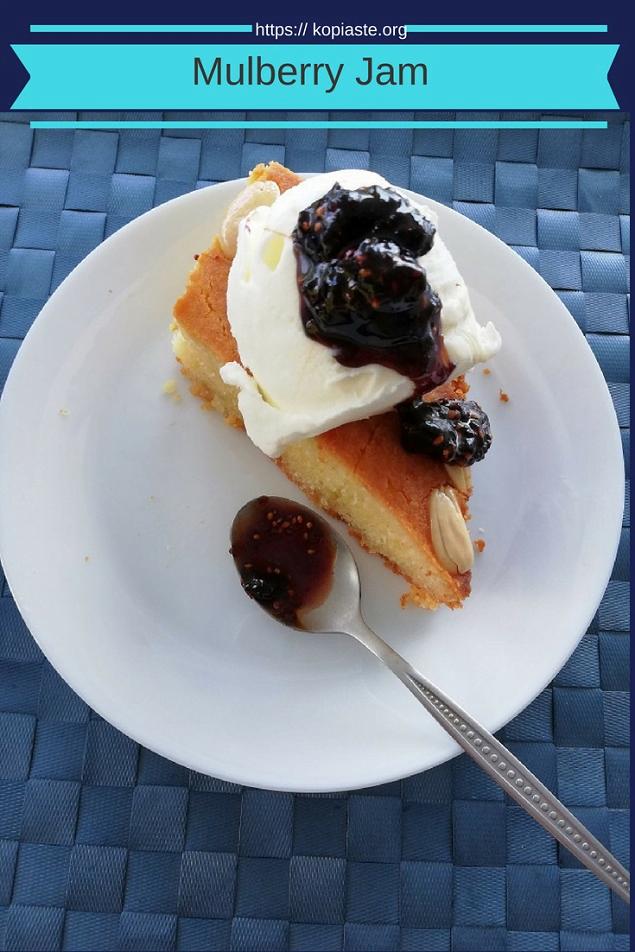 revani with kaimaki icecream and mulberry jam image