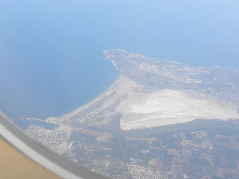 Sea Lake in Akrotiri from airplane image