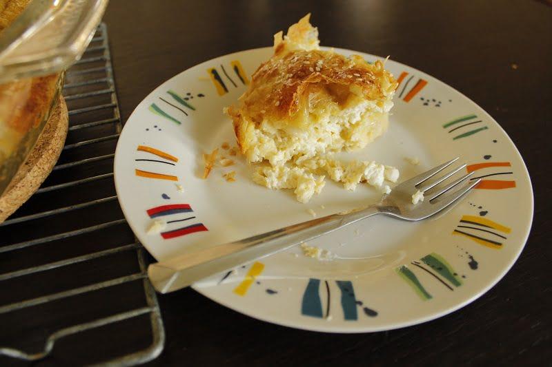 creased cheese pie patsavouropita cut picture