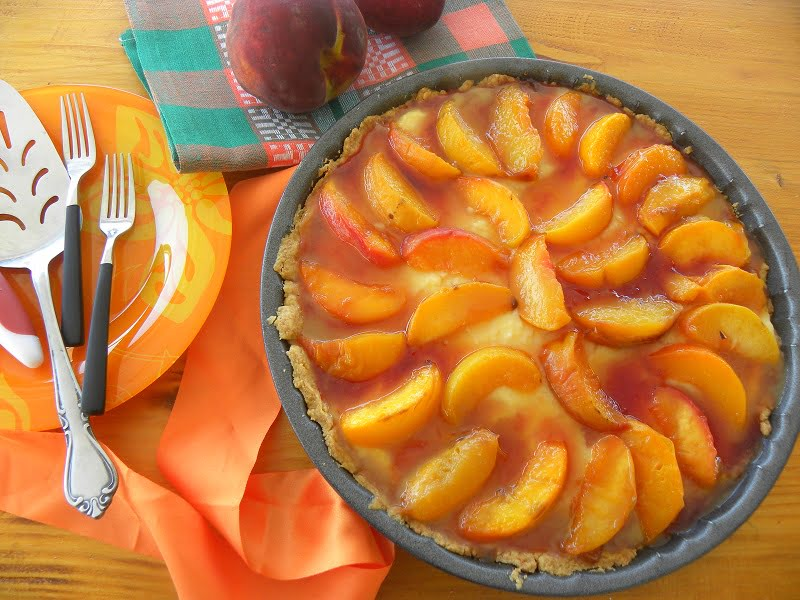 Caramelized Peach Custard Tarte Tatin image