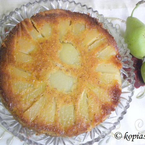 Upside Down Pear Almond and Honey Cake
