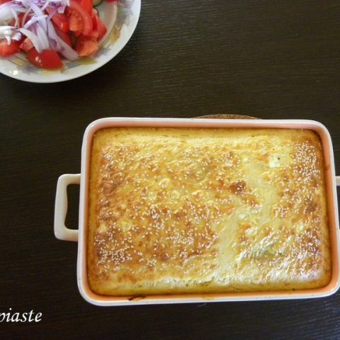 Chaniotiko Boureki with Greek Yoghurt  (Savoury Zucchini, Potato Casserole)