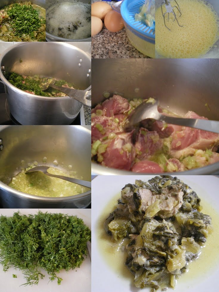 Collage preparing pork fricasse image