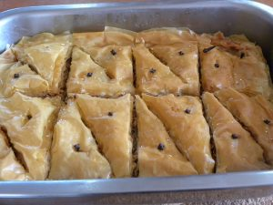 Tray of Greek baklavas image