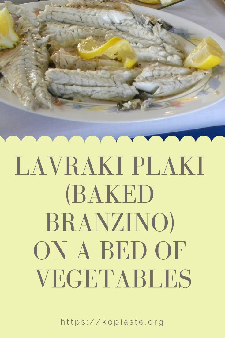 Collage Lavraki plaki (sea bass) on a bed of vegetables image
