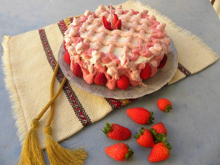 Super Strawberry Bavarian Cream Cake Kopiaste To Greek Hospitality Funny Birthday Cards Online Necthendildamsfinfo