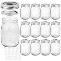 KAMOTA Mason Jars 16OZ With Regular Lids and Bands, Ideal for Jam, Honey, Wedding Favors, Shower Favors, Baby Foods, DIY Magnetic Spice Jars, 12 PACK, 20 Whiteboard Labels Included