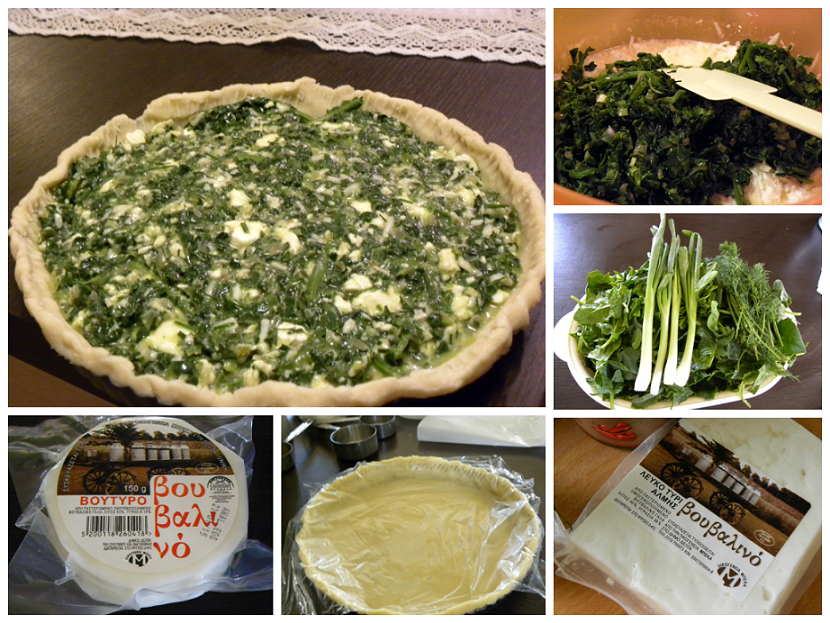 collage spinach and mushroom tart image