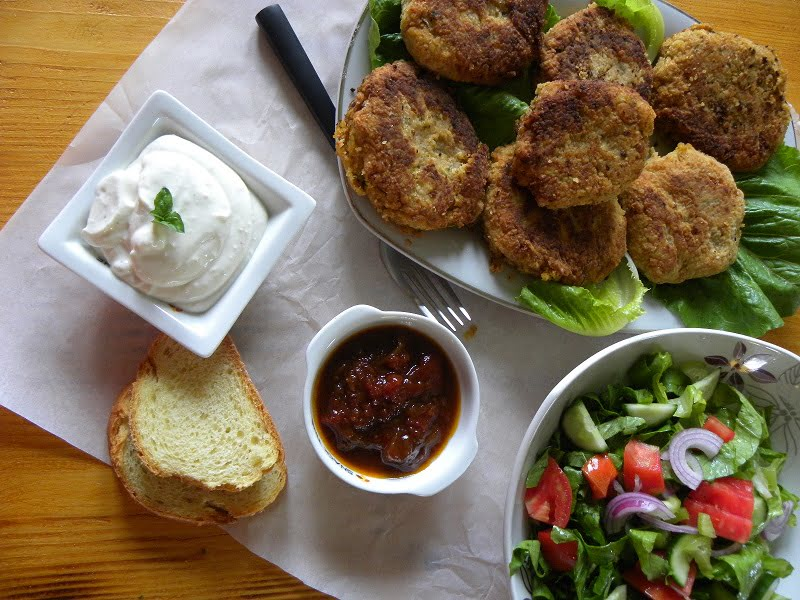 Chickpea Burgers with garlic sauce and chutney image