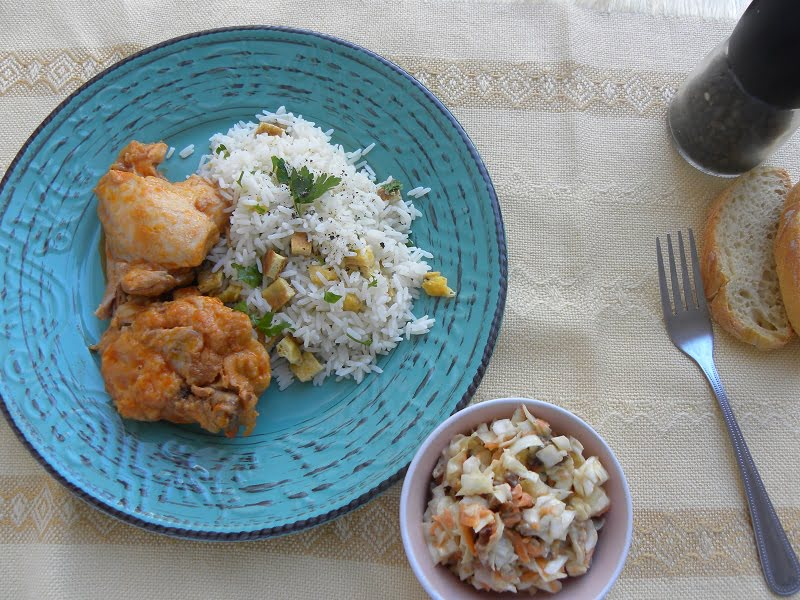 Chicken stew with rice pilaf and salad image