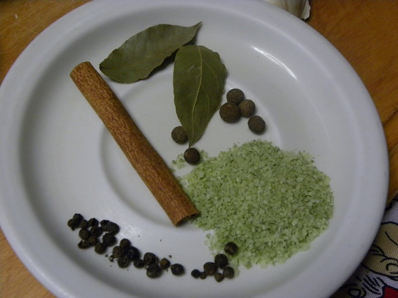 spices cinnamon sea salt black pepper allspice and bay leaf image