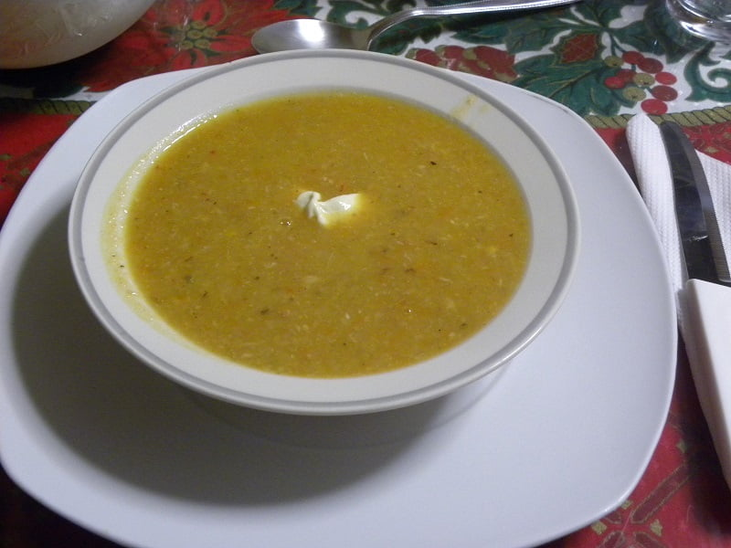 turkey soup with Greek yoghurt picture