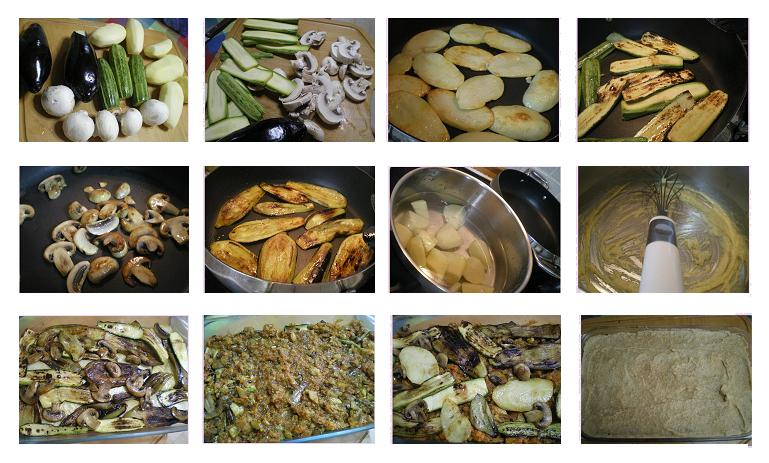 collage preparing vegan moussakas image