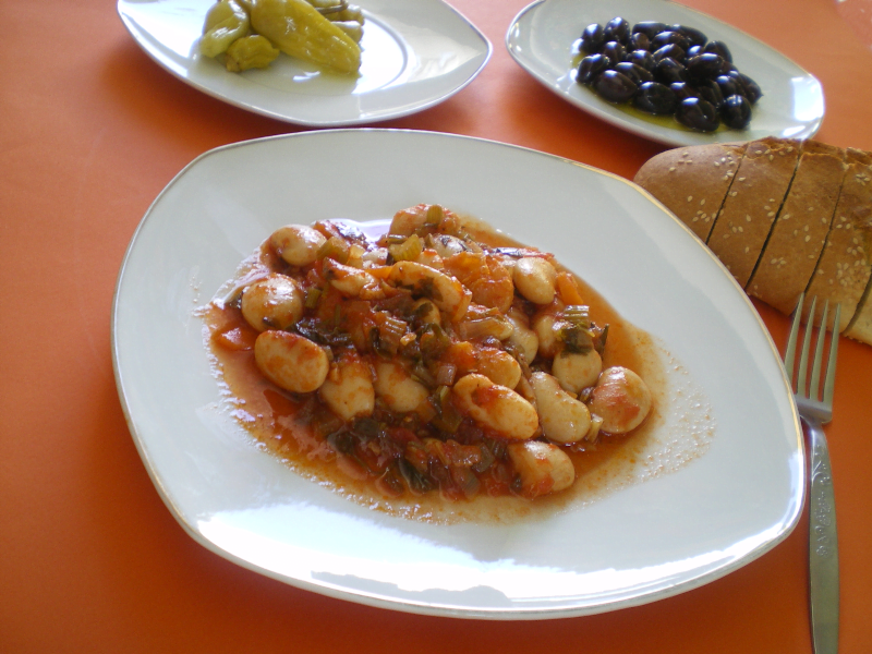 Gigantes with olives and pickled peppers photo