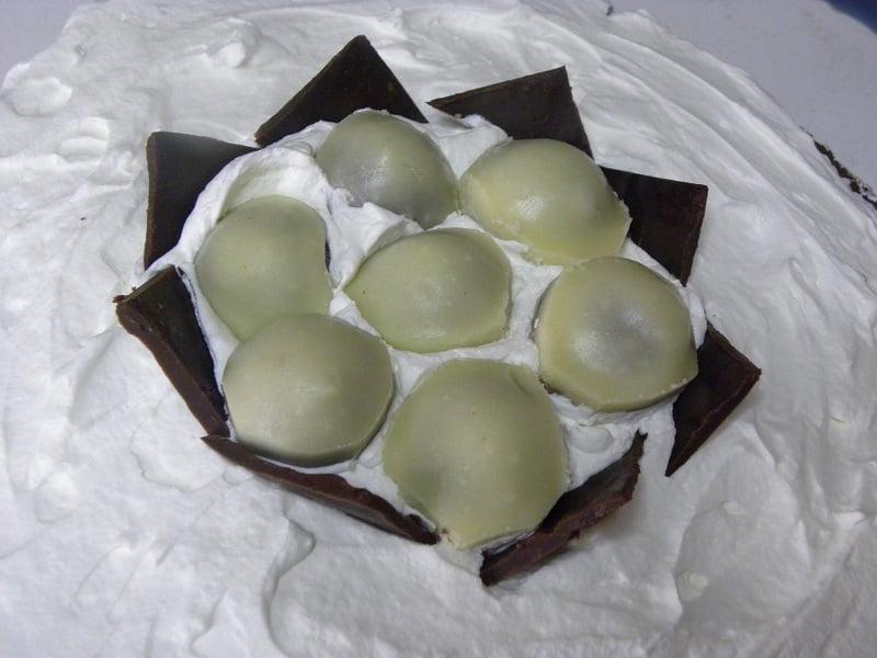 Adding dark chocolate to form the nest image