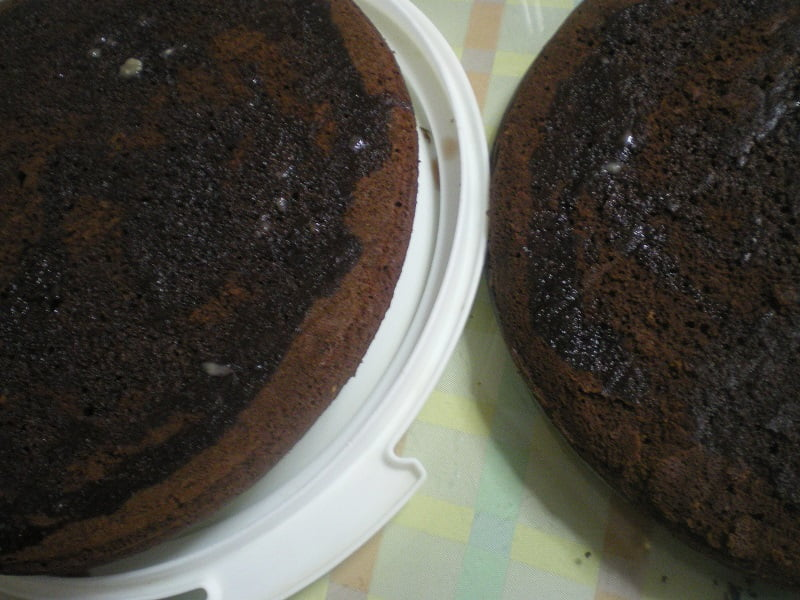 Chocolate sponge cut and wet image