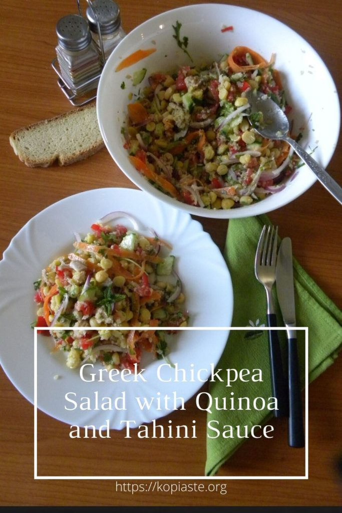 Collage Greek Chickpea Salad with Quinoa and Tahini Sauce image