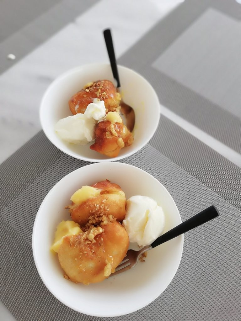 Loukoumades with lemon curd and ice cream image