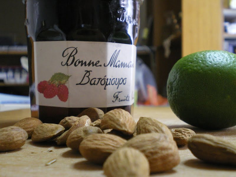 almonds raspberry jam and lime image