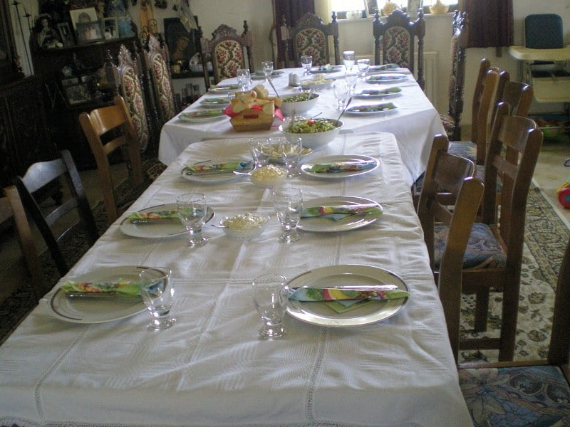 table set for easter dinner image