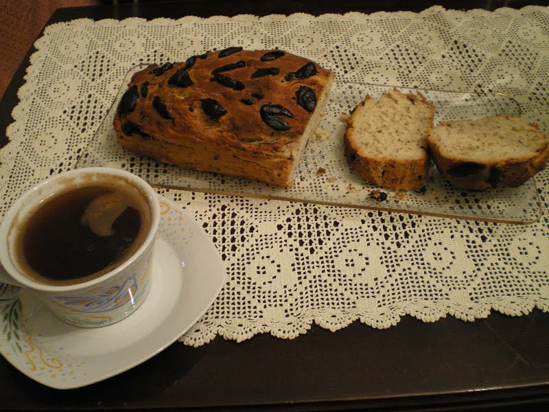 Eliopsomo (olive bread) with Greek coffee picture