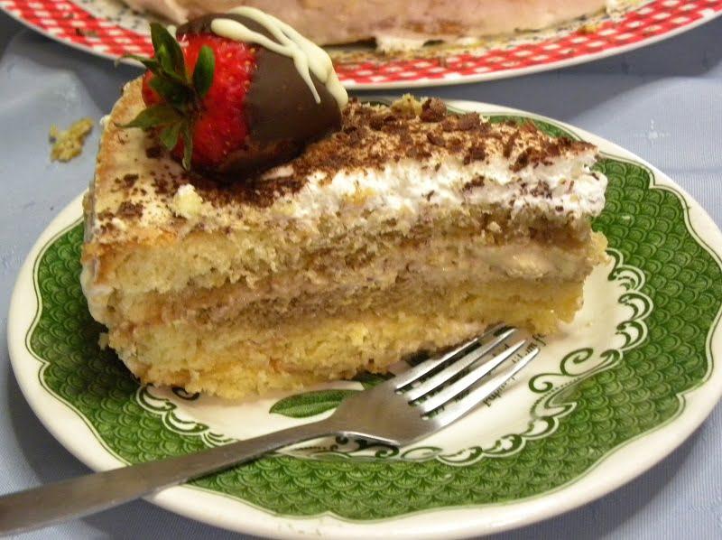 Tiramisu cake cut picture