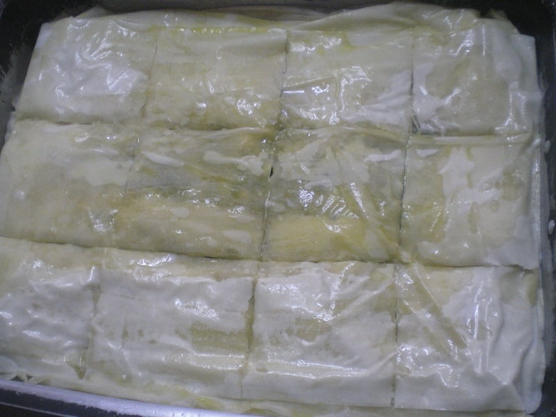 Scoring the phyllo sheets image