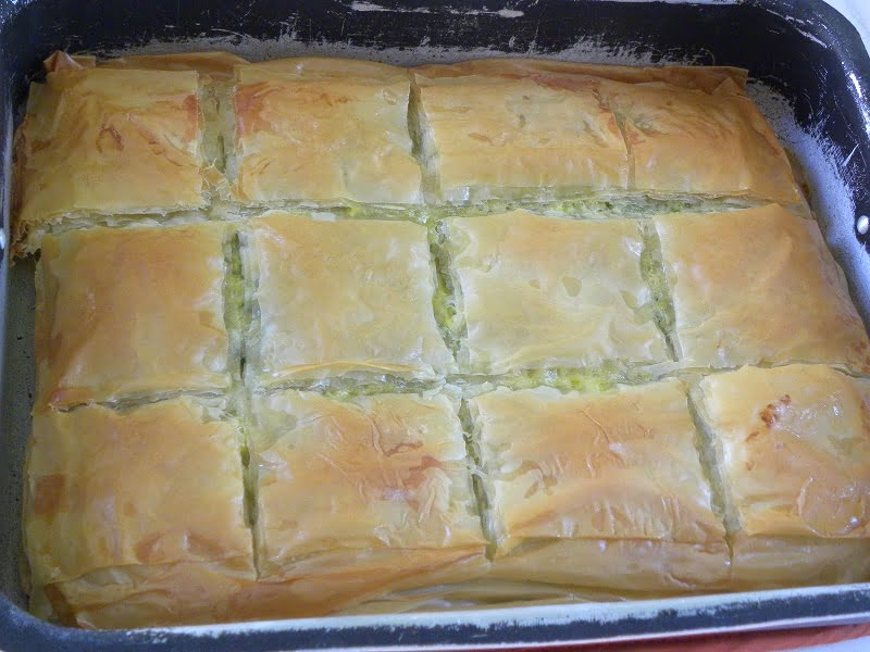 Spanakopita scored and baked image