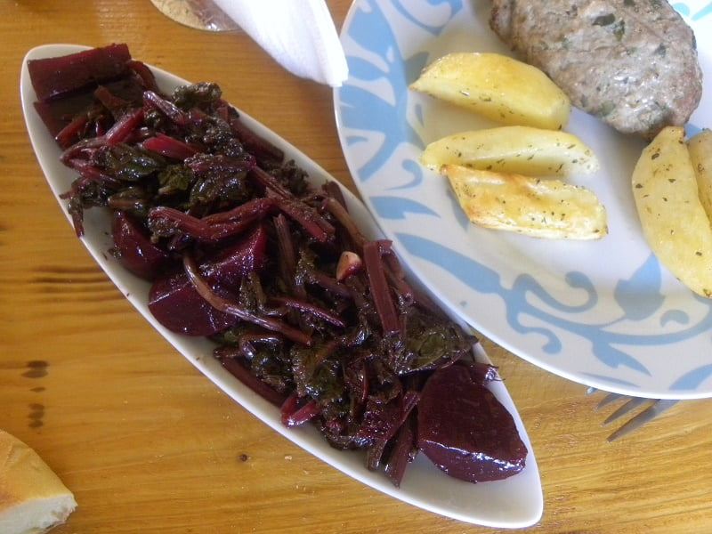 Beet salad with meat loaf image