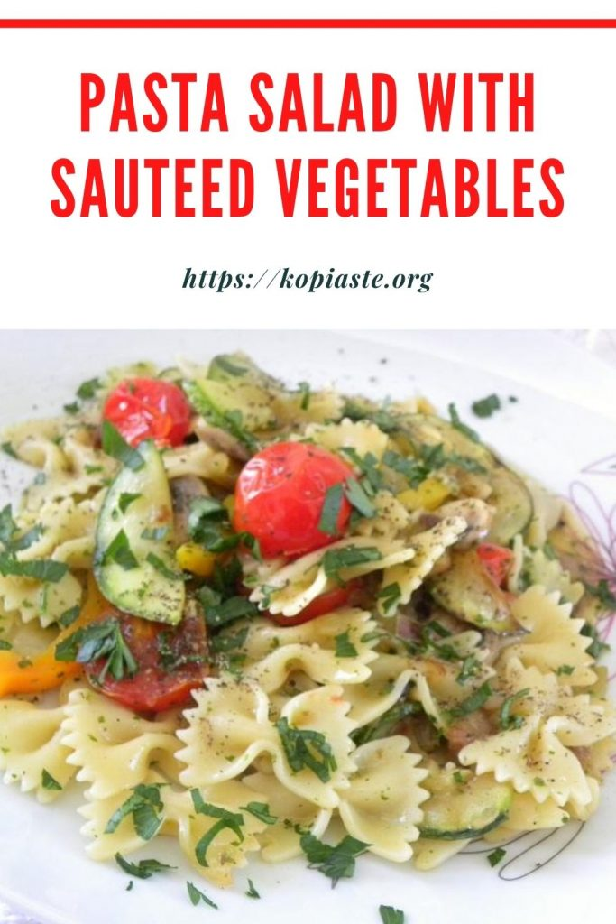 Collage Pasta Salad with sautéed vegetables image
