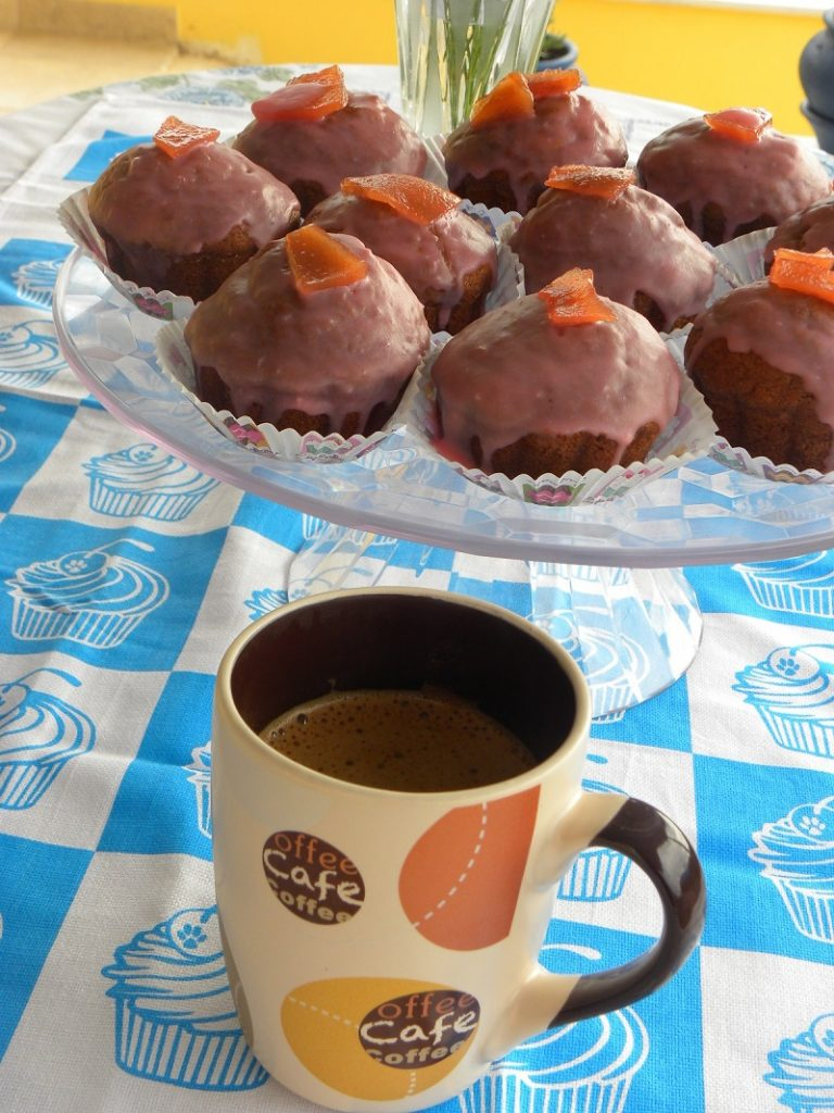 Banana Quince Cupcakes with a cup of Greek coffee image