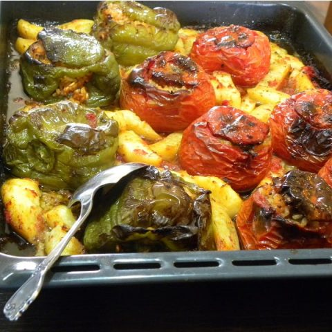 Gemista tomatoes and peppers with potatoes image