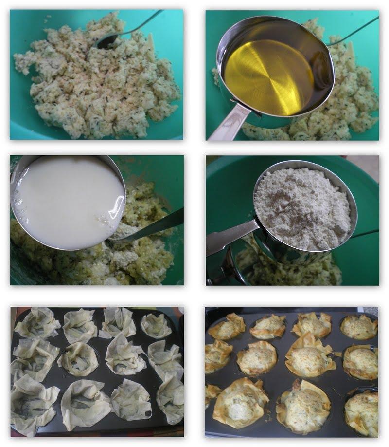 collage making halloumi muffins image