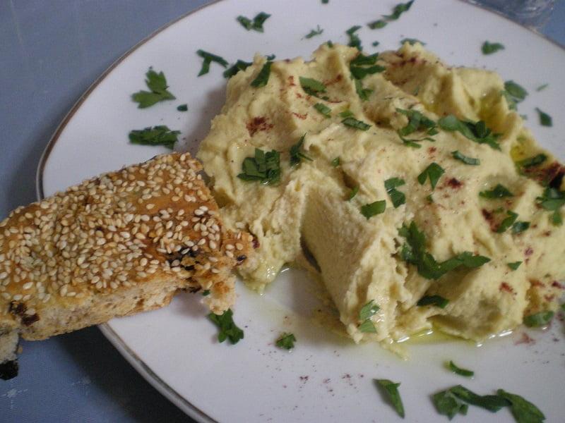 hummus dip with lagana image