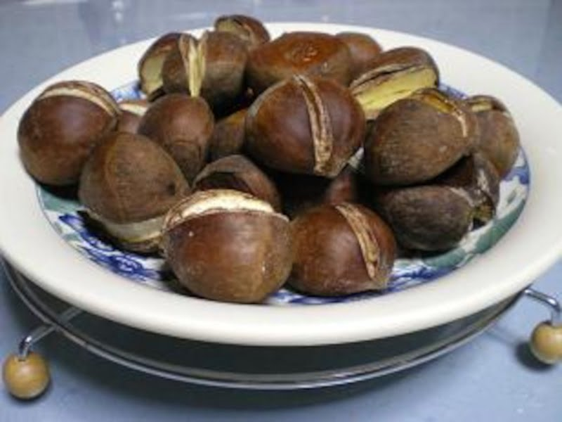 Chestnuts baked in the oven image