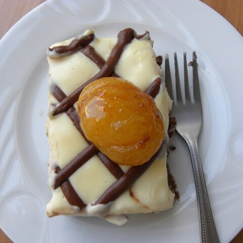 Nanaimo bars served with chestnut preserve image