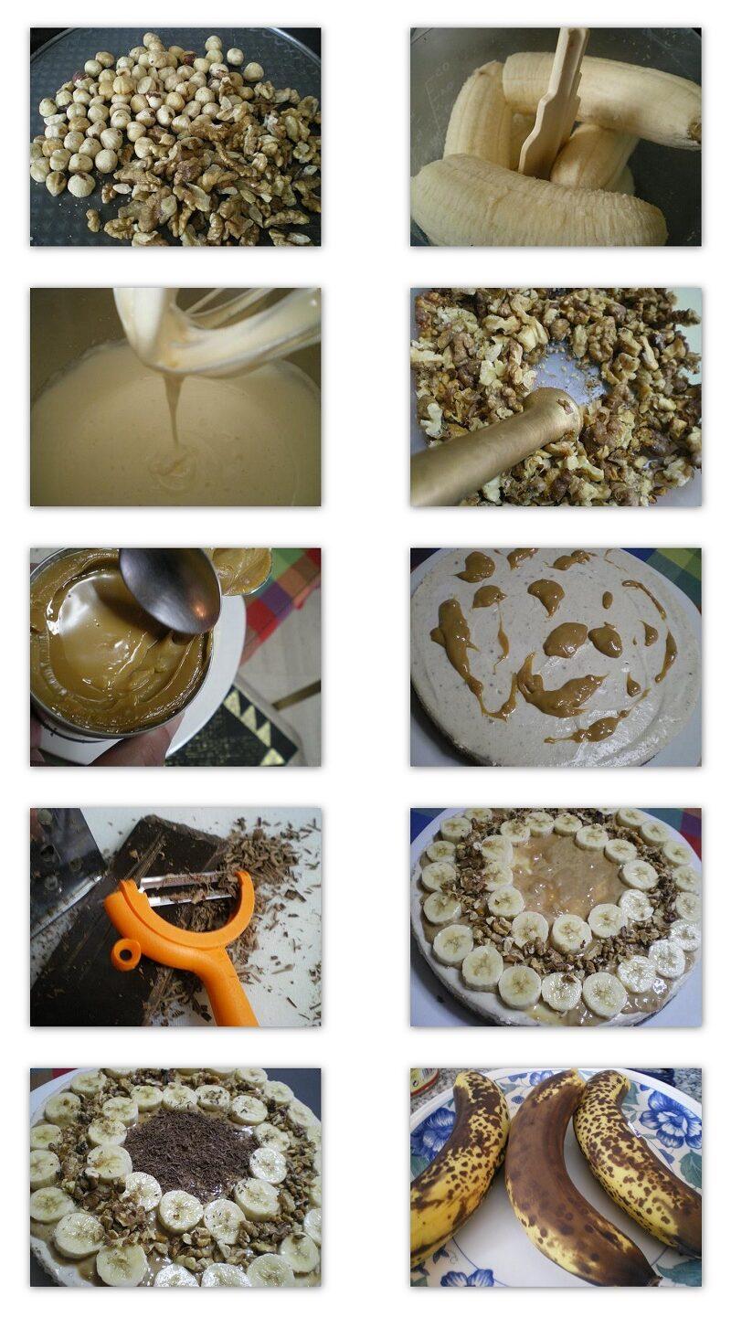 Collage making banoffee cheesecake with Greek Yoghurt image
