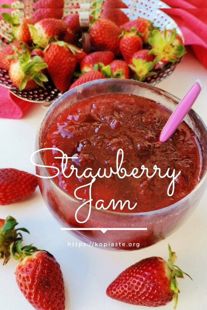 Collage Strawberry jam in a bowl with raw strawberries around it image