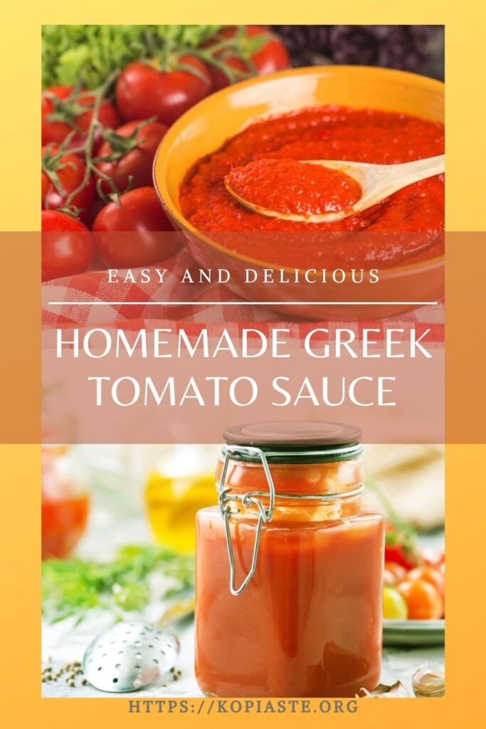 Collage easy and delicious homemade greek tomato sauce image